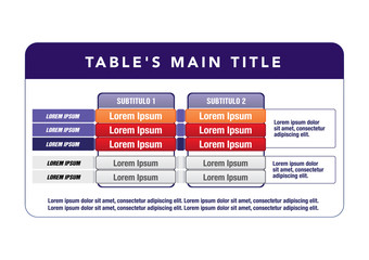 Data table template. ideal for presentations and institutional materials