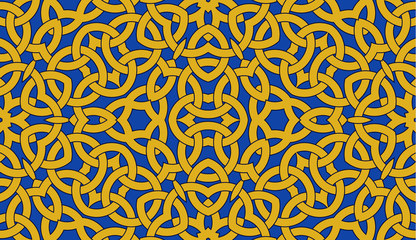 Seamless pattern with golden celtic knot ornament on blue, background