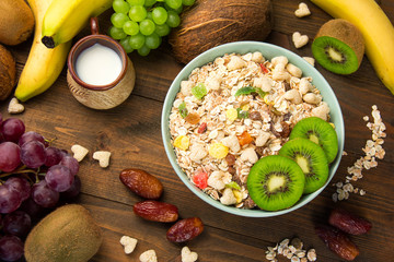 useful breakfast cereal cereal with dried fruits in a plate fruits