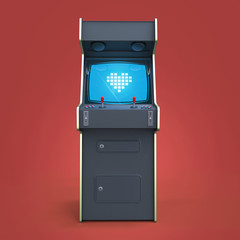 vintage arcade game machine cabinet with pixel heart icon colorful controllers and screen isolated.