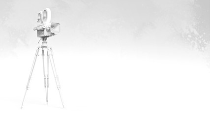 color vintage retro movie camera on tripod mount isolated high quality rendering presentation background template