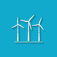 Wind turbines. Vector Illustration in flat style