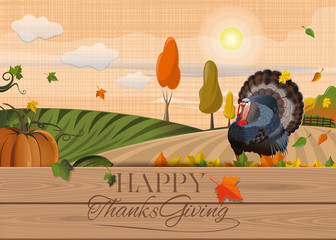 Thanksgiving background. Happy Thanksgiving. Poster with gobbler and rural landscape. Vector illustration
