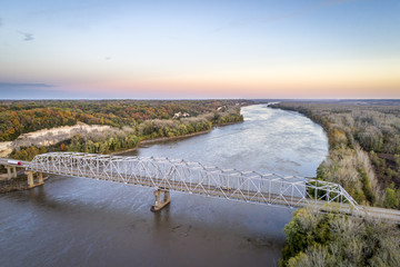 Missouri River bridge aerial view