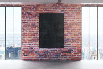 Red birck interior with empty chalkboard
