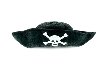 Isolated black vintage pirate hat with a skeleton skull, studio shot on white background.