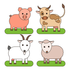 Livestock: cow, pig, goat and sheep. Vector illustration.
