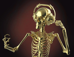 Golden shiny metal skeleton in big earphones posing, isolated on dark background. rendering party poster template