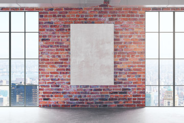 Red birck interior with empty banner