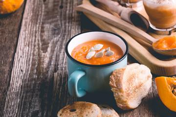 Pumpkin soup and  pumpkin spice latte