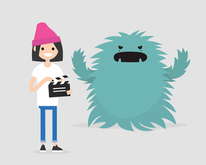 Film set. Horror movie. Big scary monster. Young girl holding a retro clapper board. Entertainment industry / flat editable vector illustration, clip art