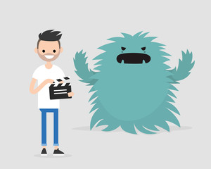 Film set. Horror movie. Big scary monster. Young character holding a retro clapper board. Entertainment industry / flat editable vector illustration, clip art
