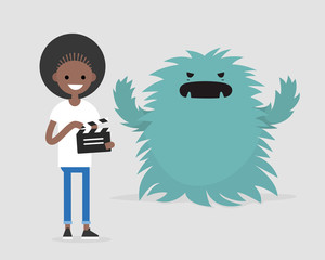 Film set. Horror movie. Big scary monster. Young black girl holding a retro clapper board. Entertainment industry / flat editable vector illustration, clip art
