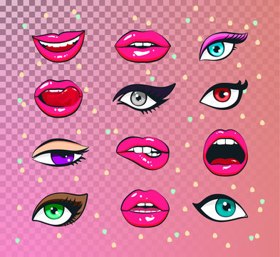 Vector stickers kit of female lips and woman eyes: eyelashes eyes of fatal beauty bright makeup with different emotions.