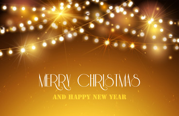 Shine Garland. Nerry Christmas And Happy new Year Greeting Background With Lights