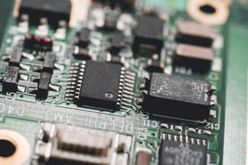 Computer circuit board.High technology. Close up of computer electronic circuit board. Computer part