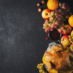 Thanksgiving background - turkey with fruits