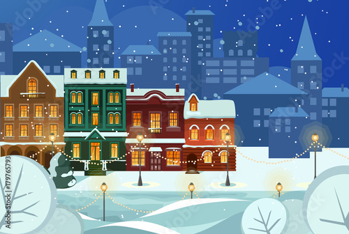 Admirable Merry Christmas And Happy New Year Snowy City Background Interior Design Ideas Skatsoteloinfo