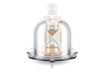Hourglass brain covered by glass bell, save time concept. 3D rendering