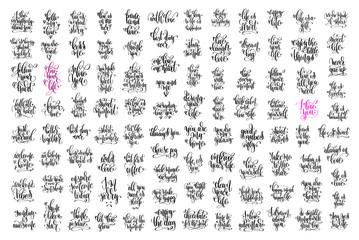 set of 100 hand lettering inscription, love letters positive quo