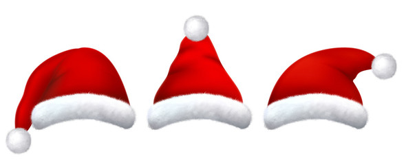 Set of red santa hats with realistic fur.