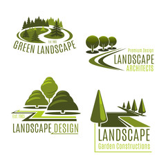 Foto auf Acrylglas Weiß Vector icons for nature landscaping company