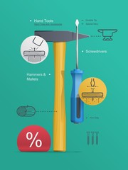 Tools infographic, Hammert and screwdriver