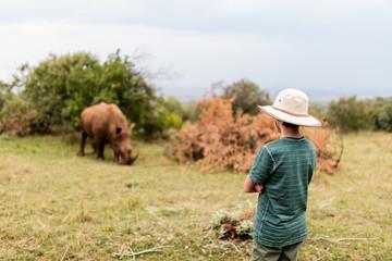 Teenage boy on safari