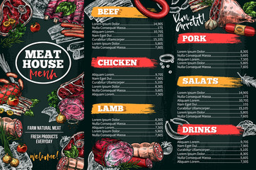 Vector sketch menu for meat restaurant