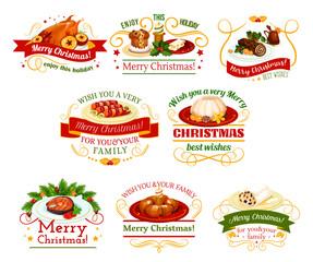 Christmas cuisine dinner badge for New Year design