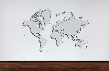 World map. popular World map template, cover, annual reports, Flat Earth. wall and wooden oak floor