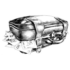the suitcase with the money sketch vector graphics
