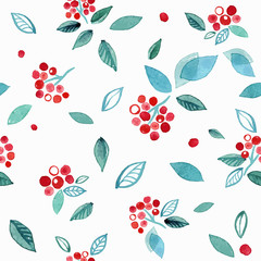 Watercolor seamless pattern with branches rowan berry. Winter cute hand drawn background.