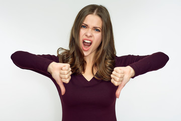 Woman hater doing dislike with thumb down.