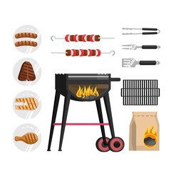 a set of barbecue objects, cooking outings in nature picnic