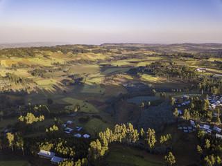 Aerial view of rural Ethiopian village