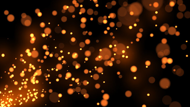 Particles sparks dots glitter slow motion background 3d illustration isolated