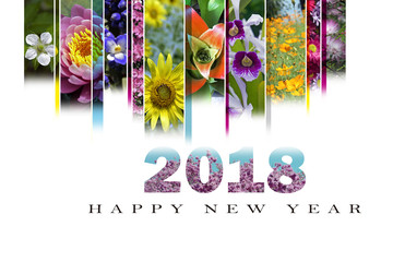 New Year's card 2018 with floral motif in English