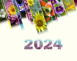 2024 with floral motif very cheerful and colorful