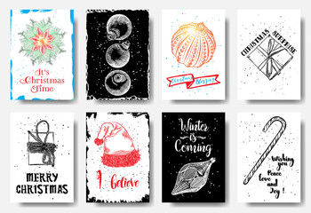 Modern and classic creative Christmas cards in black, color and white.  It's Christmas time, Blessing, Christmas Surprise, Merry Christmas, I believe, Winter is Coming, Wishing you peace love and joy.