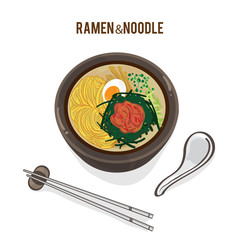 food vector Japanese noodle Ramen cuisine soup object