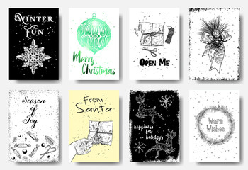 Set of Christmas and New Year greeting cards with handwritten brush calligraphy and decorative elements. Decorative hand drawn illustration for winter invitations, cards, posters and flyers. Vector.