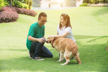 asian chinese couple with a  dog