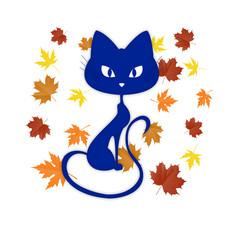 синяя кошка с осенними листьями