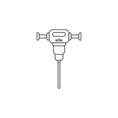 Construction jackhammer line icon