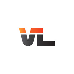 Initial letter VL, straight linked line bold logo, gradient fire red black colors