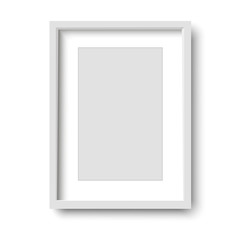 Realistic white frame isolated on white background. vector illustration