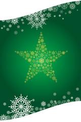 クリスマスイメージ 緑|雪の結晶で描いた星のオーナメント|Christmas ornament