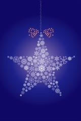 クリスマスイメージ 青|雪の結晶で描いた星のオーナメント|Christmas ornament