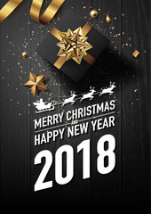 2018 merry christmas and happy new year vector greeting card and poster design with golden ribbon,star and giftbox on black wood textured.